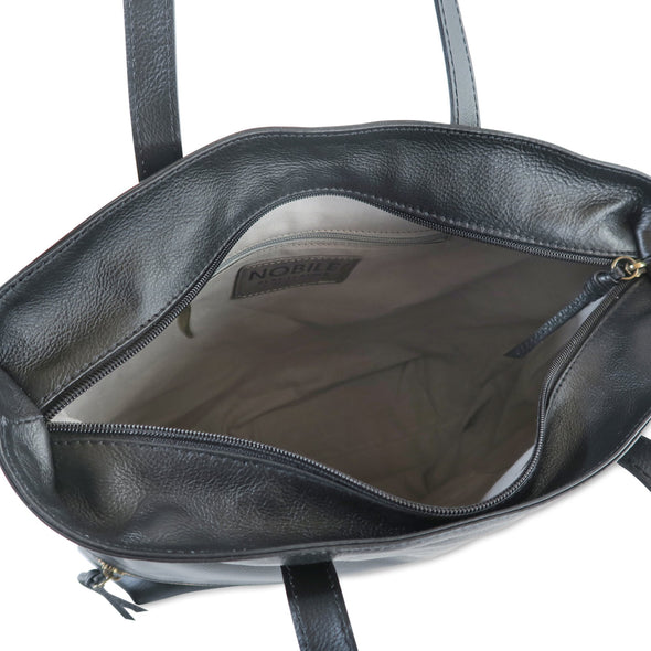 Zilla Italian Leather Tote in Black - exclusively at LUCA Boutique - interior of bag