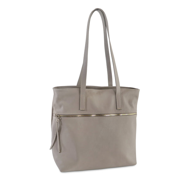 Zilla Italian Leather Tote in Taupe - exclusively at LUCA Boutique