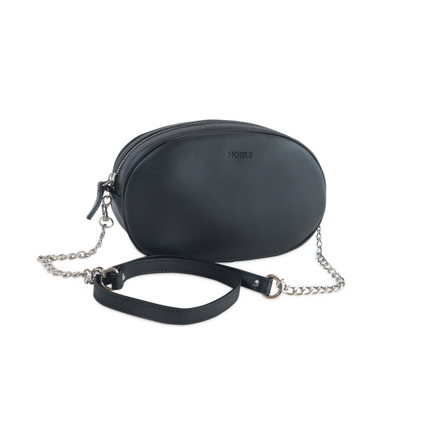 Billy Leather Fanny Pack with removable shoulder strap at LUCA Boutique - with chain shoulder strap