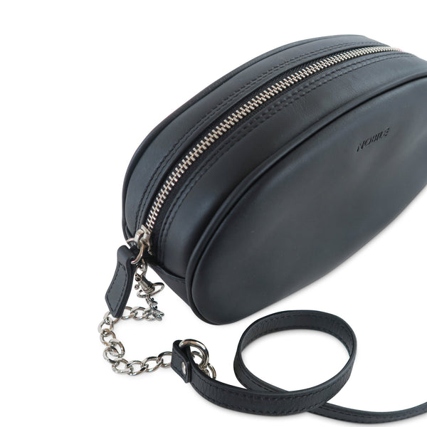 Billy Leather Fanny Pack with removable shoulder strap at LUCA Boutique - with chain shoulder strap top view