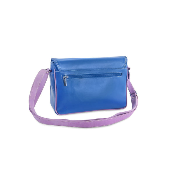 Amila Italian Leather Handbag Collection in Blue, back view - at LUCA Boutique