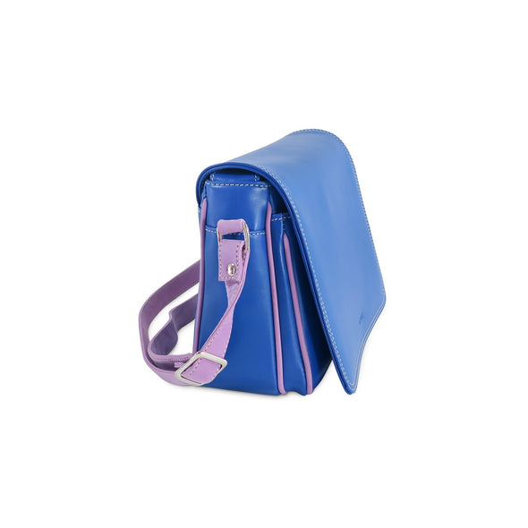 Amila Italian Leather Handbag Collection in Blue, side view - at LUCA Boutique