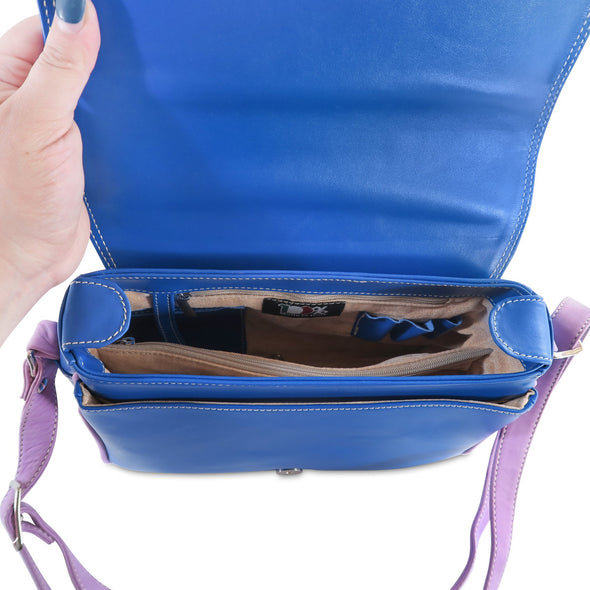 Amila Italian Leather Handbag Collection in Blue, interior view - at LUCA Boutique
