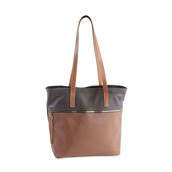 Zilla Italian Leather Tote in Brown and Taupe - exclusively at LUCA Boutique