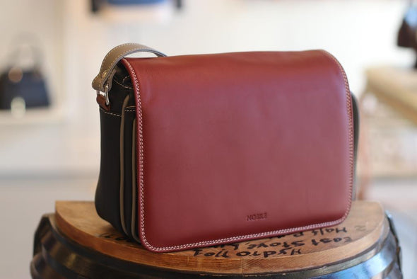 Amila Italian Leather Handbag Collection in Red - at LUCA Boutique (2524560359509)