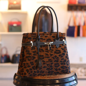 Giada Italian Leather Satchel in Leopard - by Luca