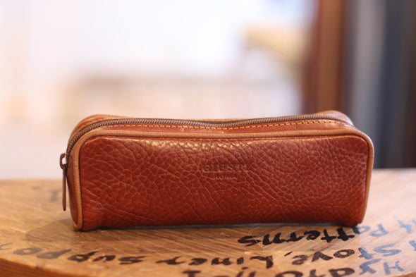 Eye Glass Brown Holder in Italian Leather by LUCA Boutique - front view