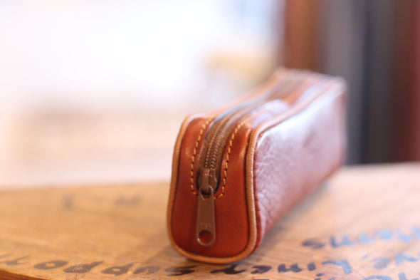 Eye Glass Brown Holder in Italian Leather by LUCA Boutique - side view