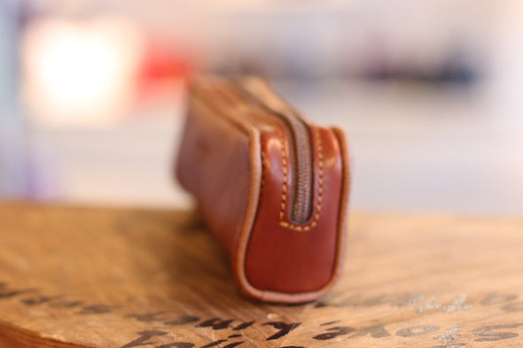 Eye Glass Brown Holder in Italian Leather by LUCA Boutique - side view (2483111067733)