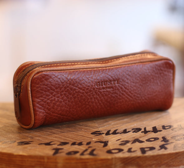 Eye Glass Brown Holder in Italian Leather by LUCA Boutique