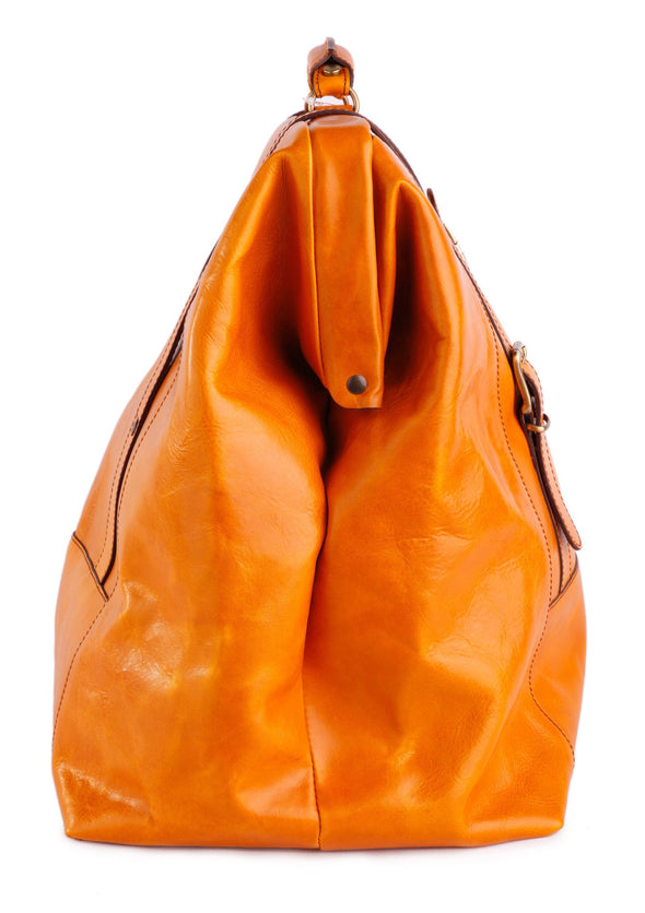 Amerigo Italian Leather Handbag in Yellow, side view - exclusively at LUCA Boutique
