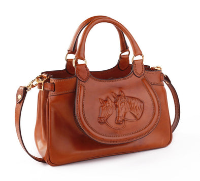 QUEEN - equestrian leather handbag completely handmade in Italy.
