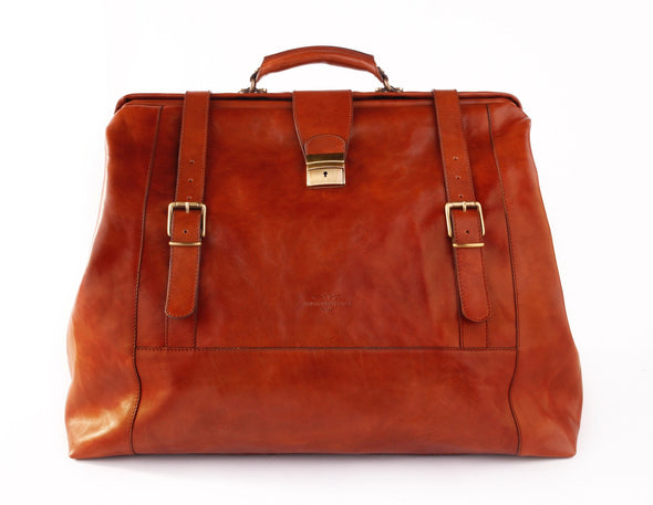 Amerigo Italian Leather Handbag in Brown - exclusively at LUCA Boutique