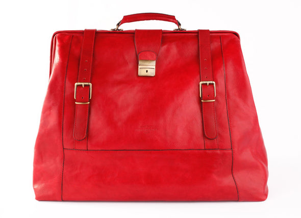 Amerigo Italian Leather Handbag in Red - exclusively at LUCA Boutique