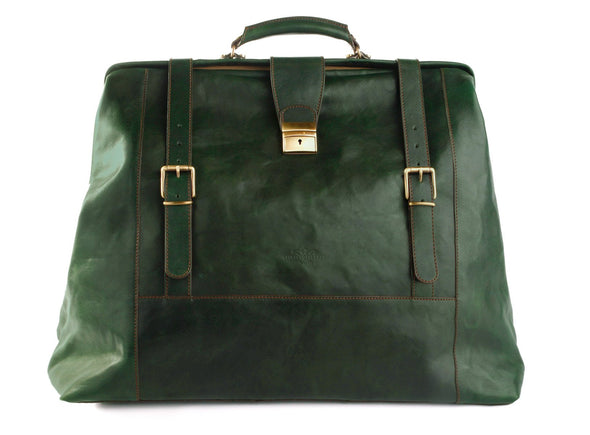 Amerigo Italian Leather Handbag in Green - exclusively at LUCA Boutique