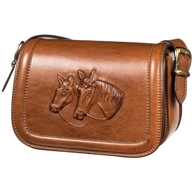 Postina Equestrian Luxury Bag, with carved in leather horses - LUCA Boutique