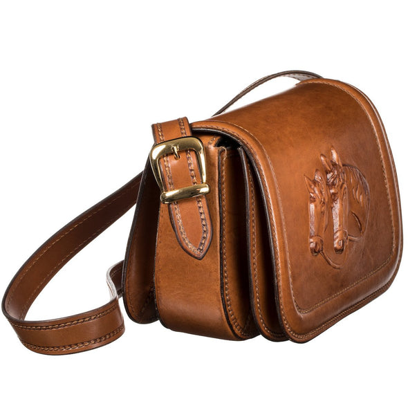 Postina Equestrian Luxury Bag, with carved in leather horses, slant view - LUCA Boutique (2552823021653)