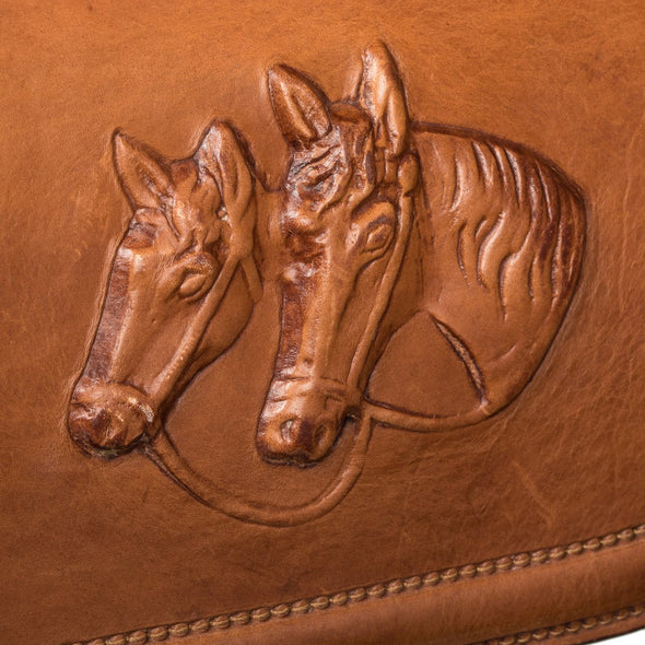 Postina Equestrian Luxury Bag, with carved in leather horses, detail view - LUCA Boutique (2552823021653)