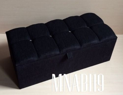 Prime 40Inch Black Chenille 4 Diamond Ottoman Storage Box Creativecarmelina Interior Chair Design Creativecarmelinacom