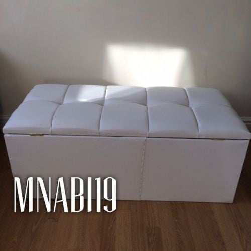 Superb 40 Inch White Faux Leather Ottoman Storage Box Squirreltailoven Fun Painted Chair Ideas Images Squirreltailovenorg