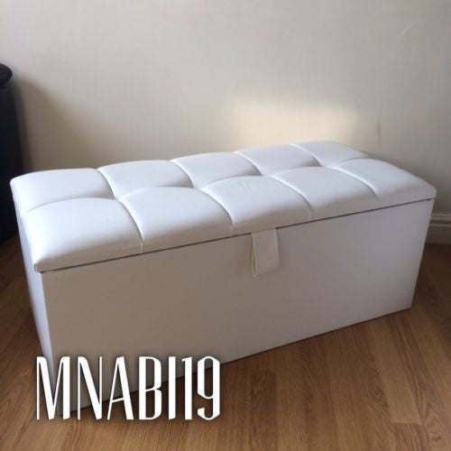 Tremendous 40 Inch White Faux Leather Ottoman Storage Box Gmtry Best Dining Table And Chair Ideas Images Gmtryco