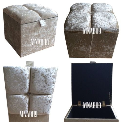 CRUSHED VELVET CREAM IVORY 1 DIAMOND OTTOMAN STORAGE FOOTSTOOL BOX 16 BY 16  NEW ...