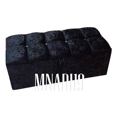 Admirable 3Ft Black Crushed Velvet 4 Diamond Ottoman Storage Box Ncnpc Chair Design For Home Ncnpcorg
