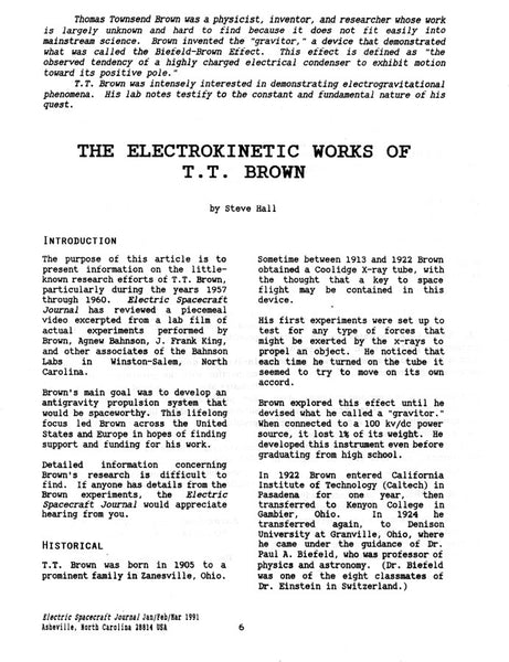 ESJ#1 first page of the Electrokinetic Works of T. T. Brown