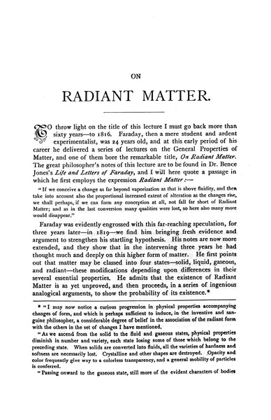 Page one, Radiant Matter