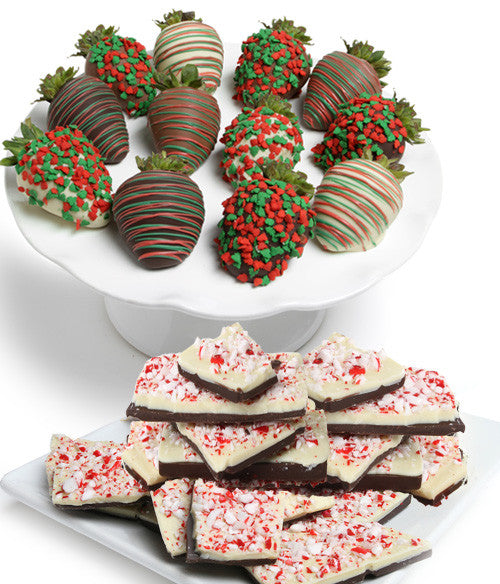 Holiday Chocolate Strawberries & Belgian Peppermint Bark - Golden Edibles