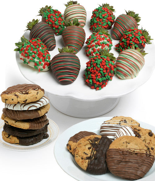 Holiday Chocolate Strawberries & Gourmet Cookies - 24pc - Golden Edibles