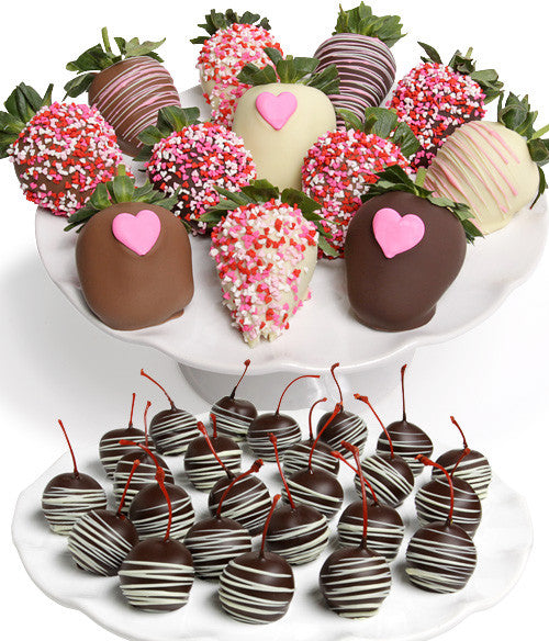 Mother's Day Chocolate Strawberries & Cherries - 36pc - Golden Edibles