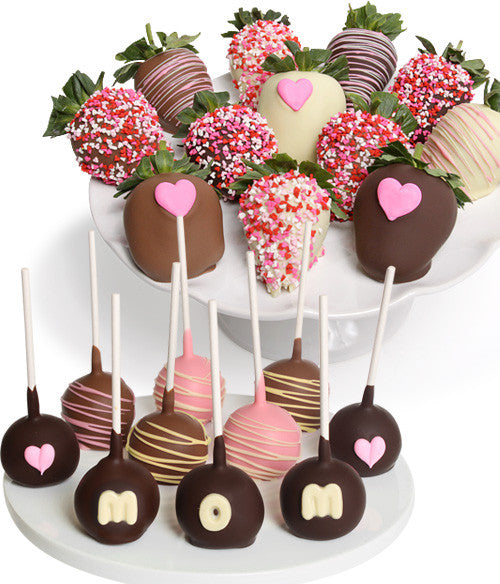 Mother's Day Chocolate Strawberries & Cake Pops - 22pc - Golden Edibles