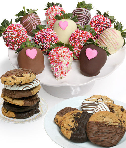 Mother's Day Chocolate Strawberries & Gourmet Cookies - 24pc