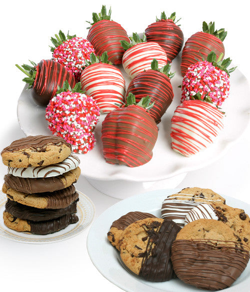 Valentine's Day Belgian Chocolate Strawberries & Gourmet Cookies - 24pc - Chocolate Covered Company®