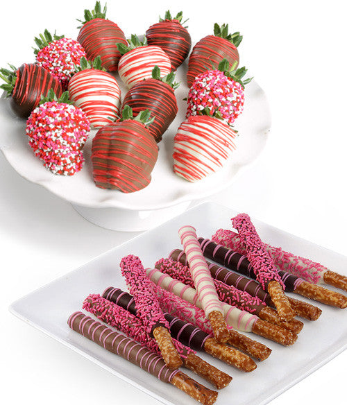 Valentine's Day Belgian Chocolate Strawberries & Pretzels - 24pc - Chocolate Covered Company®