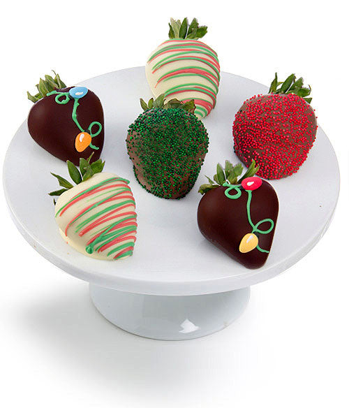 christmas lights belgian chocolate covered strawberries chocolate covered company - Christmas Chocolate Covered Strawberries