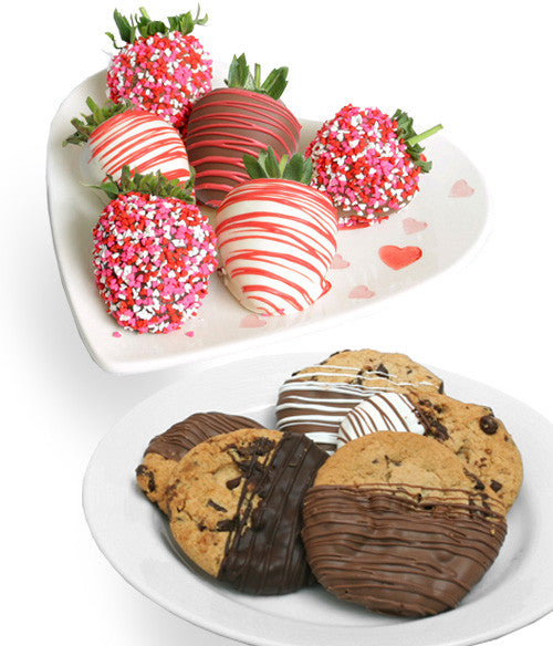 Valentine's Day Belgian Chocolate Covered Strawberries & Gourmet Cookies