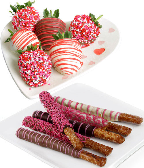 Valentine's Day Belgian Chocolate Covered Strawberries & Pretzels