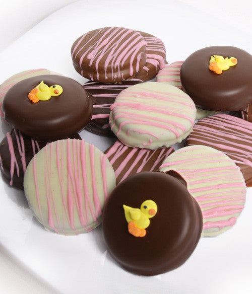 Baby Girl Belgian Chocolate-Dipped OREO® Cookies Gift - 12pc - Golden Edibles