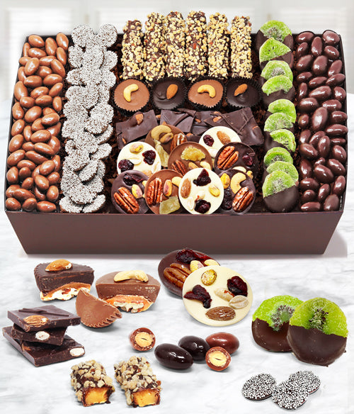 Extravaganza Belgian Chocolate Covered Nut & Dried Fruit Gift Basket Tray - Chocolate Covered Company®