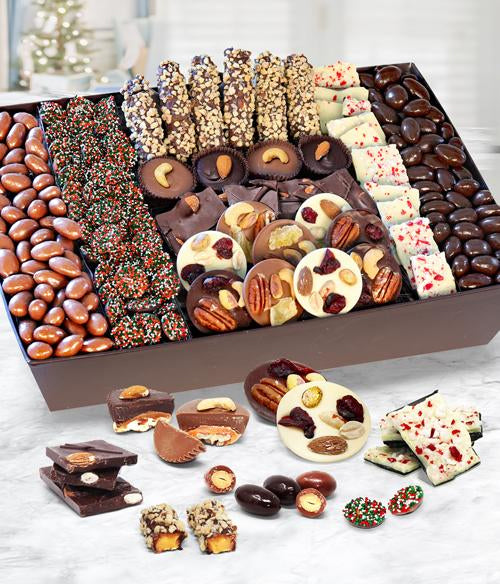 Holiday Extravaganza Belgian Chocolate Covered Nuts, Caramels &  Snacks Gift Basket Tray - Chocolate Covered Company®