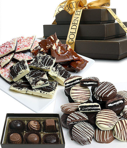 FESTIVE ARTISAN CRAFTED Belgian Chocolate Gourmet Gift Tower - Golden Edibles