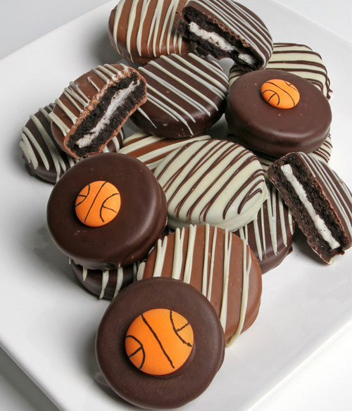 Basketball Belgian Chocolate-Dipped Oreo® Cookies Gift - 12pc - Golden Edibles