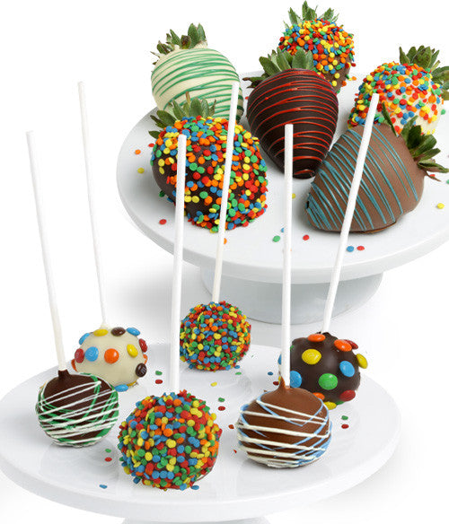Birthday Chocolate Covered Strawberries & Cake Pops
