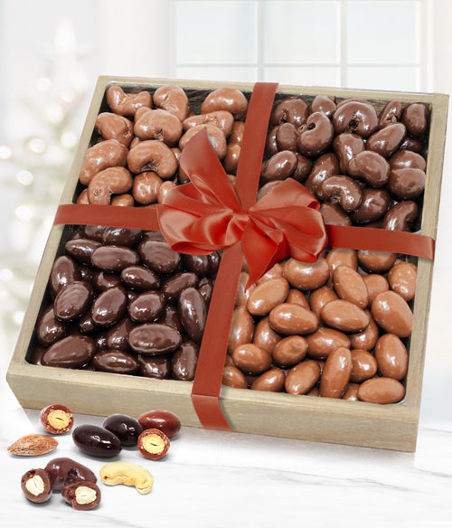 Belgian Chocolate Covered Nut Gift Tray - Almonds & Cashews - Chocolate Covered Company®
