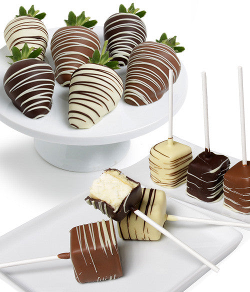 Classic Belgian Chocolate Strawberries & Cheesecake Pops - Golden Edibles