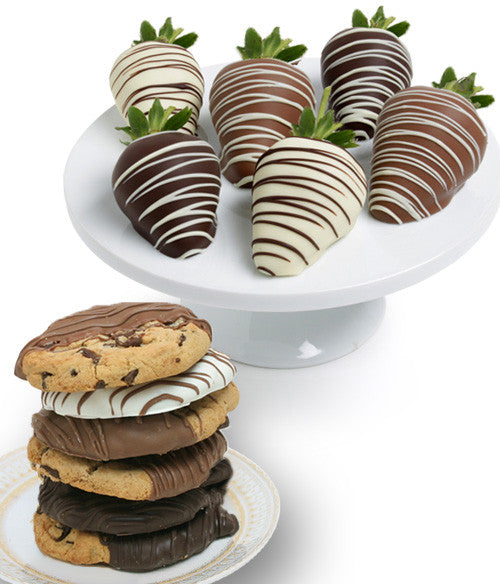 Classic Chocolate Strawberries & Gourmet Cookies - Golden Edibles