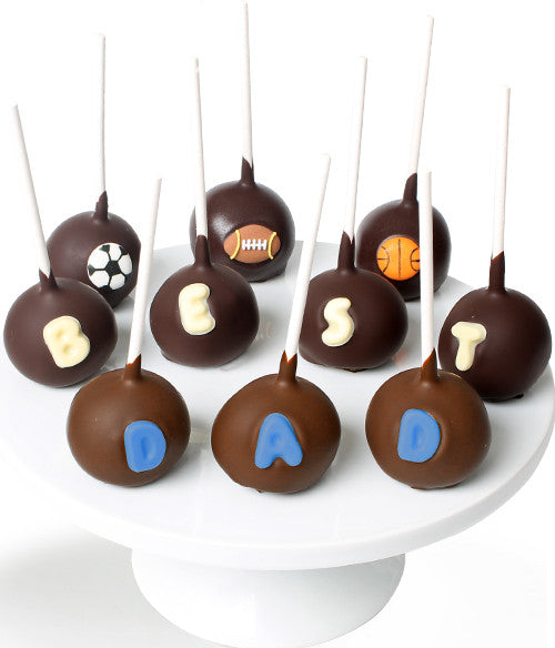 BEST DAD Chocolate Dipped Cake Pops - 10pc - Golden Edibles