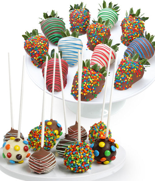 Birthday Chocolate Covered Strawberries & Cake Pops - 22pc - Chocolate Covered Company®